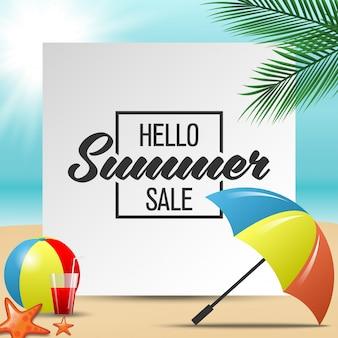 Hallo sommerschlussverkauf banner. bunte vektorabbildung