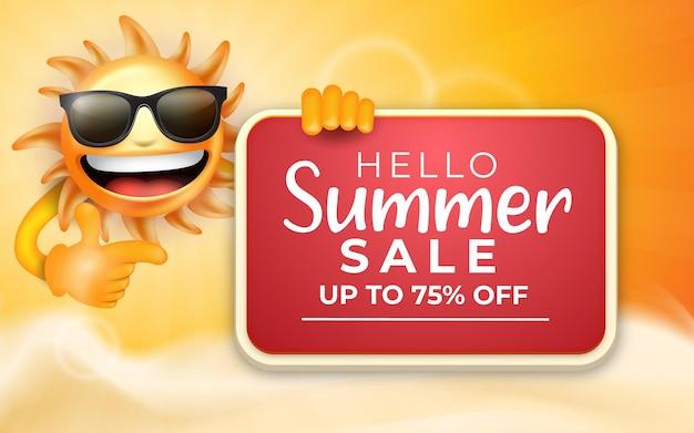 Hallo sommerschlussverkauf mit 3d-smilling-emoji-sonne-cartoon-figur