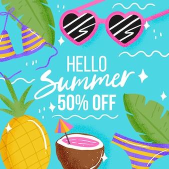 Hallo sommerschlussverkauf mit ananas und kokosnuss