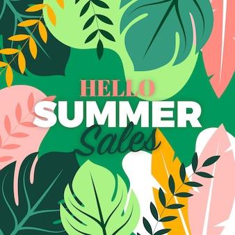 Hallo sommerschlussverkauf mit blättern