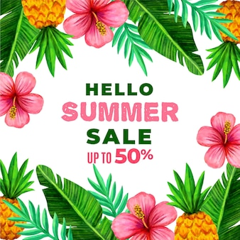 Hallo sommerschlussverkauf mit blüten und blättern