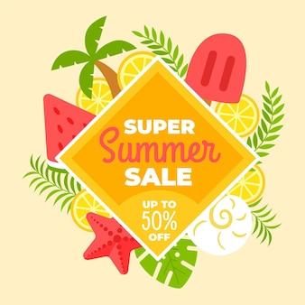 Hallo sommerschlussverkauf mit eis am stiel und wassermelone