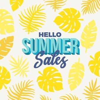 Hallo sommerschlussverkauf mit gelben blättern