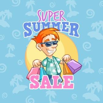 Hallo sommerschlussverkauf mit mann und einkaufen