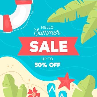 Hallo sommerschlussverkauf mit strand und palmen