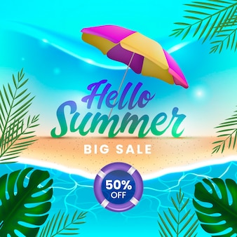 Hallo sommerschlussverkauf mit strand und sonnenschirm