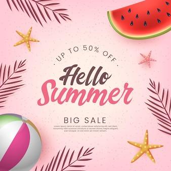 Hallo sommerschlussverkauf mit wassermelone und wasserball