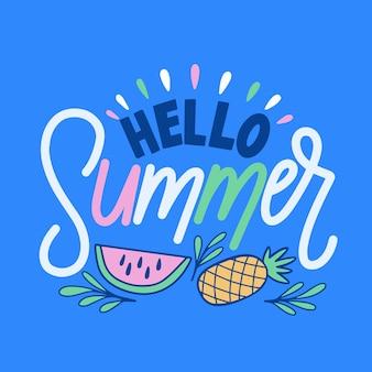 Hallo sommerschrift mit illustrationen