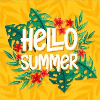 Hallo sommerschrift mit tropischen blättern