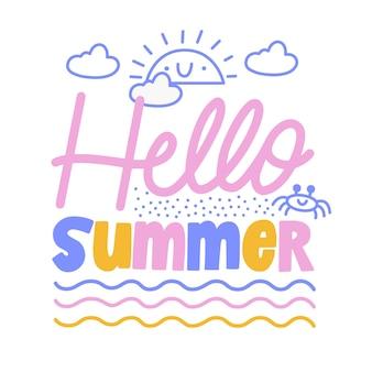 Hallo sommerschrift mit verschiedenen elementen