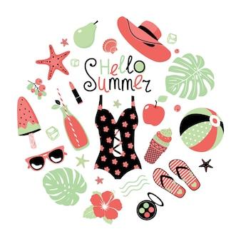 Hallo sommerset in einem kreis: badeanzug, strandball, monstera, hibiskus, sonnenbrille, eis, eis am stiel, wassermelone, birne, seestern, hut.