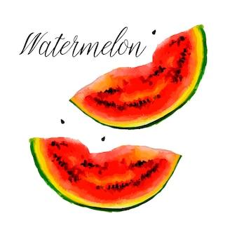 Hallo sommerslogan aquarellillustration der wassermelone auf texturpapier. illustration.