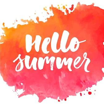 Hallo sommertextbeschriftungskalligraphie-phrasengoldverkaufs-feiertags-plakat