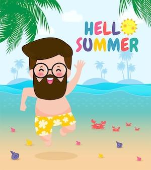 Hallo sommervorlage banner hipster mann springt auf viel spaß im sommer entspannende person am meer lounge-zeit am meer sommerurlaub flache karikatur auf hintergrund