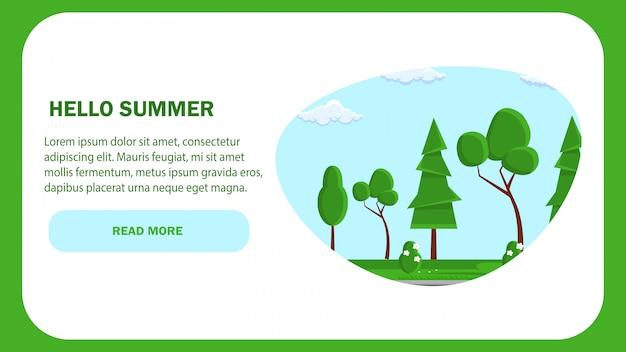 Hallo sommerwebseiten-vektorschablone. natur.