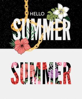 Hallo sommerworttext-beschriftungsbuchstaben mit blumenmuster