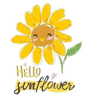 Hallo sonnenblumenillustration.