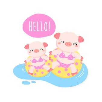 Hallo süße sommerschweine waren bikini und schwimmring-cartoon.