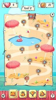 Hallo summer, die levelkarte des puzzlespiels