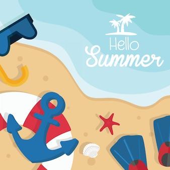 Hallo tropische ferienillustration des sommers. meeresküste und schwimmzubehör