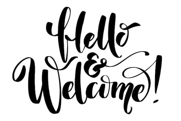 Hallo und herzlich willkommen kalligraphie schriftzug.