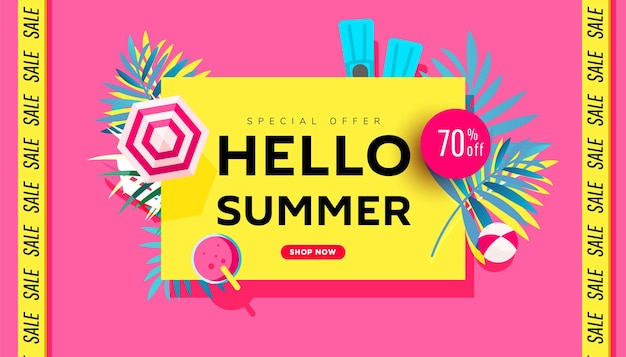 Hallo verkaufsbanner-vorlagendesign für saisonale angebotswerbung