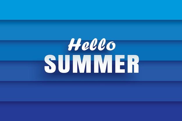 Hallo weißer text des sommers auf abstraktem blauem wellenhintergrund