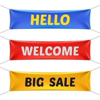 Hallo, willkommen und große verkaufsfahnen