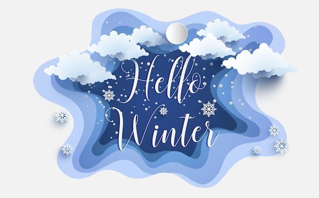 Hallo winter. beliebte typografie-design und papierkunst design