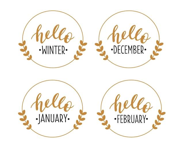 Hallo winter dezember januar februar handgezeichnete schriftzüge