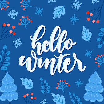 Hallo winter schriftzug auf blauem hintergrund