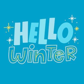 Hallo winter schriftzug mit funkelndem stern