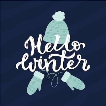 Hallo winter schriftzug mit kleidung