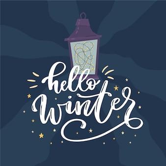 Hallo winter schriftzug mit lampe