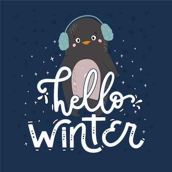 Hallo winter schriftzug mit pinguin