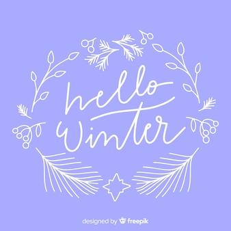 Hallo winter schriftzug mit weißem blumenrahmen