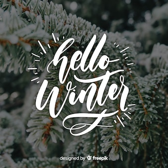 Hallo winter schriftzug