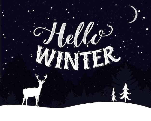 Hallo winter vintage postkarte design nachtlandschaft mit fallenden schneebäumen und rehen