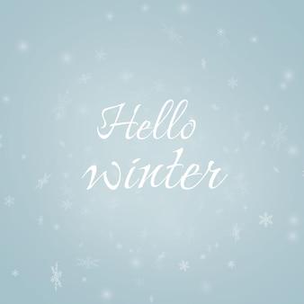 Hallo winter vorlage vektor illustration schneeflocken schöne schriftzug