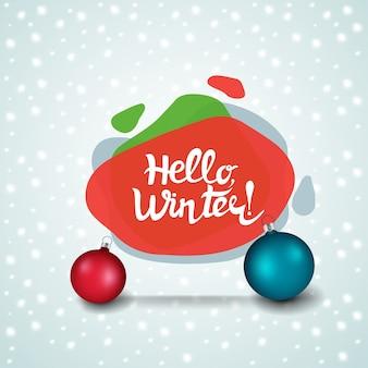 Hallo winter. weihnachtsmoderne fahne