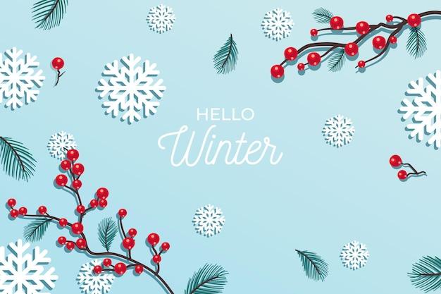 Hallo wintergruß auf winterhintergrund