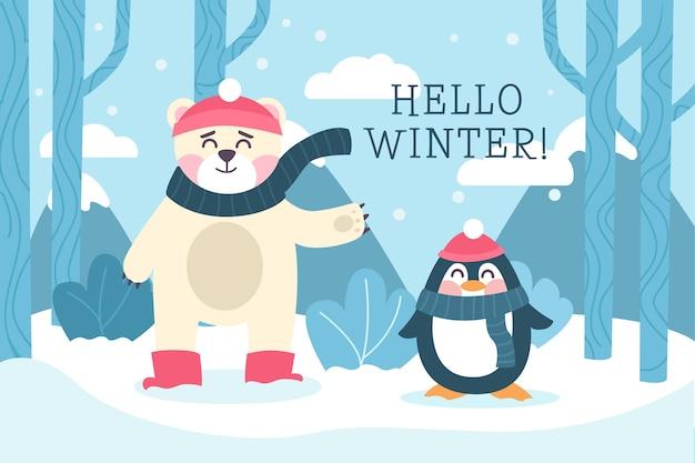 Hallo winterhintergrund im flachen design