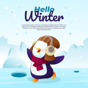 Hallo winterillustration mit einem niedlichen pinguin