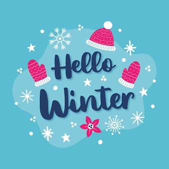 Hallo winterkonzept mit schriftzug
