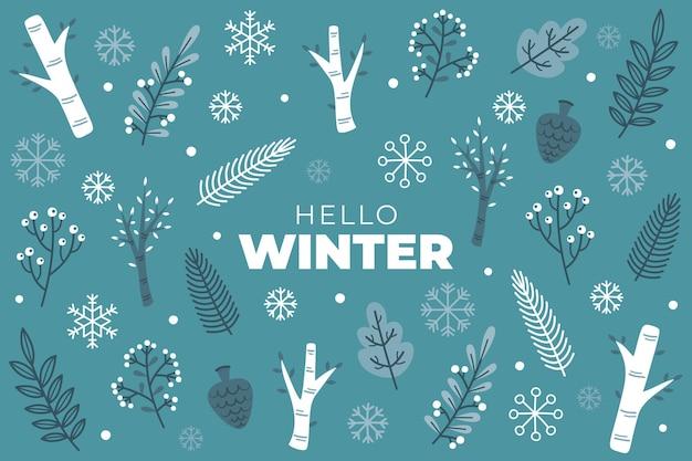 Hallo wintertext auf blauem hintergrund