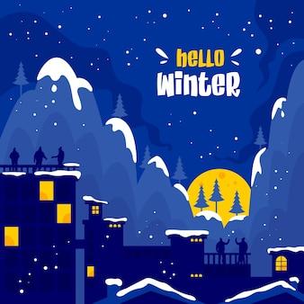 Hallo wintervektorhintergrund in der stadt mit leuten, die den schnee betrachten, der auf den berg fällt