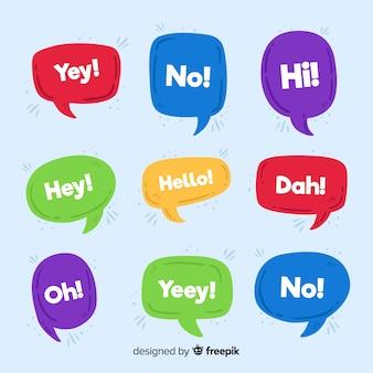 Hallo zitat auf chatblasenansammlung
