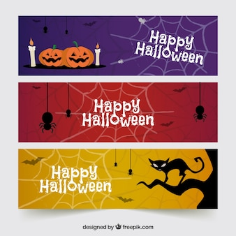 Halloweeen banner mit beängstigenden elementen