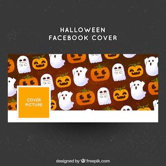 Halloween-abdeckung von kürbis und geist