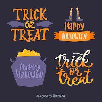 Halloween-abzeichen-kollektion mit schriftzug im flachen design
